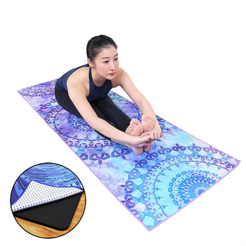 High quality eco hot microfiber recycled tie dye customized printed non anti slip silicone sweat Yoga mat towel quick dry