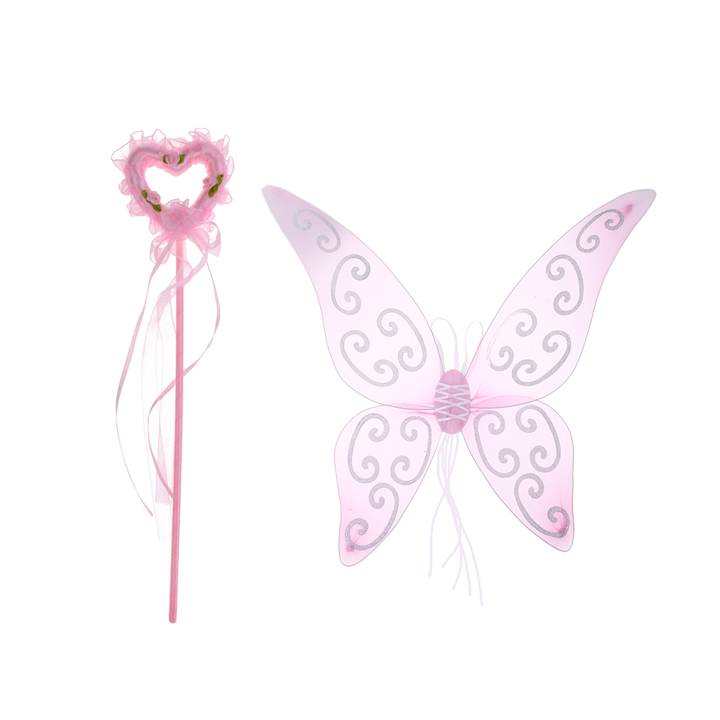 Girls Pink Fairy Wings /& Heart Magic Wand Party Fancy Dress Accessories