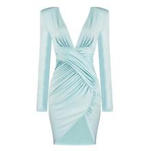PB Бесплатная доставка, новинка 2020, стильное драпированное платье с длинными рукавами, сексуальное платье мятного цвета с глубоким v-образны...(Китай)