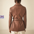 Leather Coat Women Ladies Genuine Leather Suit Rinse Washed Light-coating Lambskin Leather Hunting Coat For Female Waist Belt Jacket For Women