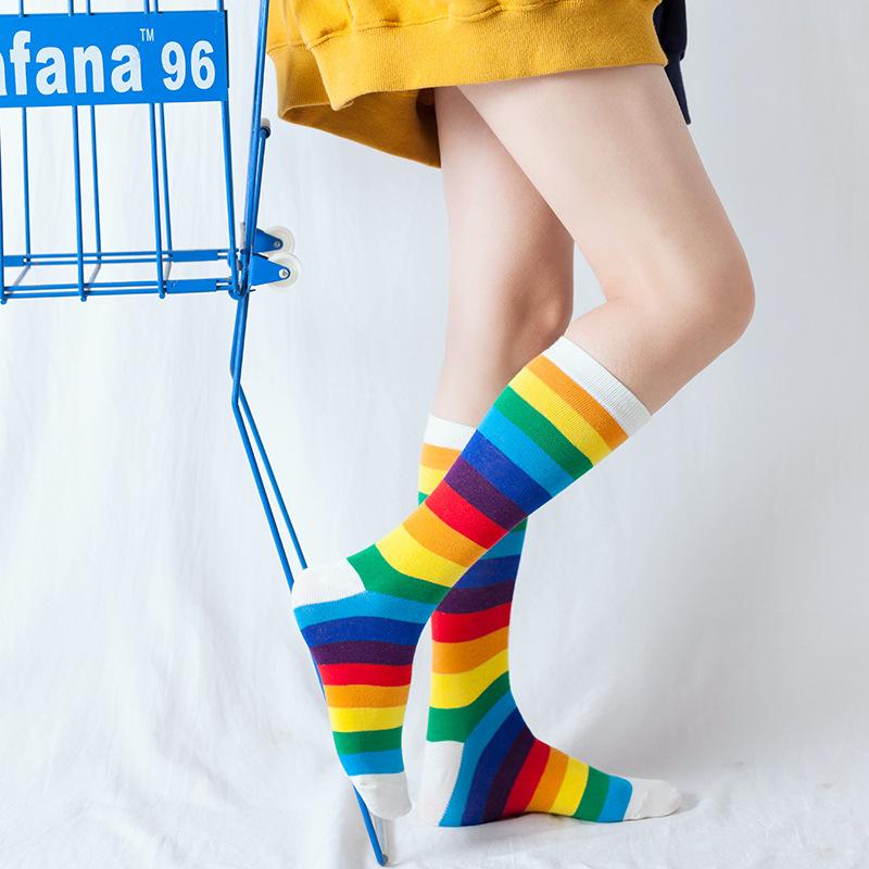 XY-0185 всех видов, забавная Повседневная футболка с начесом Хлопковое платье с радугой и коротким круглым ботильоны высокие сапоги до бедра, высокие носки, носки до колен для детей для мужчин и женщин