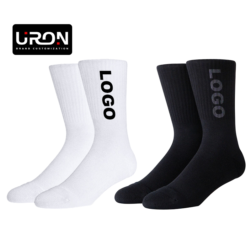 Uron 100% organic cotton socks combed cotton socks custom cotton socks