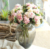Lovely small hydrangea bouquet 5 heads hydrangea bunch with leaves home desk office decoration flowers