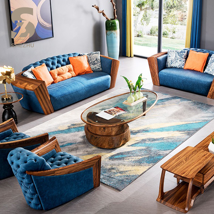 Home Used Button Design Leather Sofa Modern Style Solid Wood Furniture Zebrawood Headrest Blue Leather Sofa Set For Sale Buy Leather Sofa Set Button Design Blue Leather Sofa Solid Wood Frame Furniture Leather