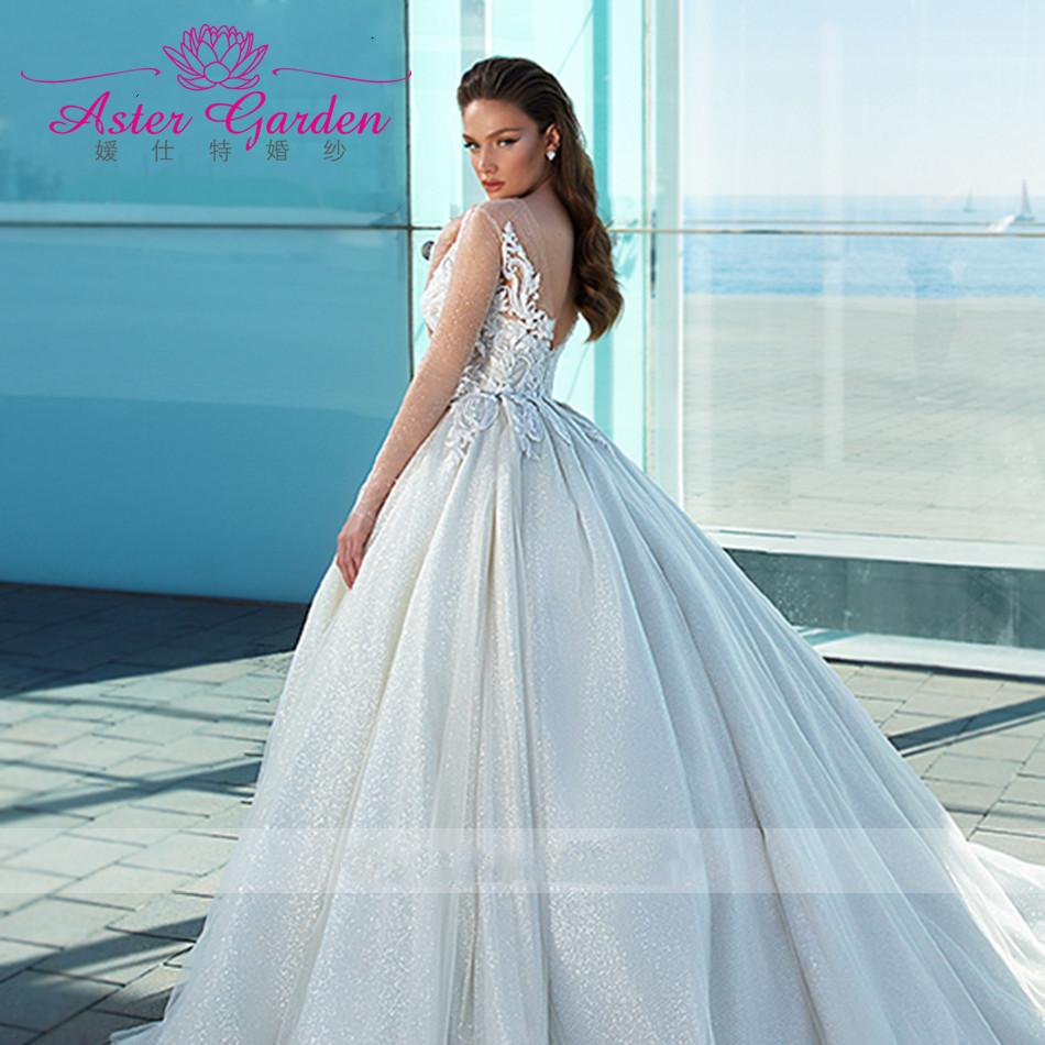 Женское свадебное платье с длинным рукавом Aster, сияющее платье с аппликацией из бисера, со шлейфом в стиле часовни, винтажные свадебные наряды, 2021