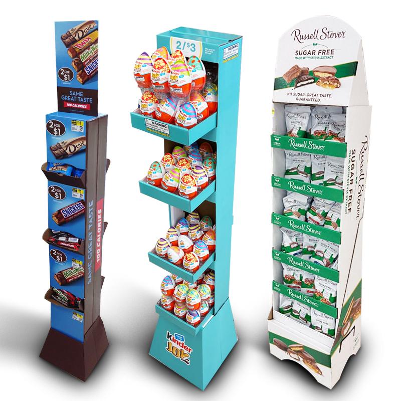 Выставочные стенды для супермаркетов, картофельные чипсы, кофейные зерна, шоколад, индивидуальная Розничная картонная напольная витрина