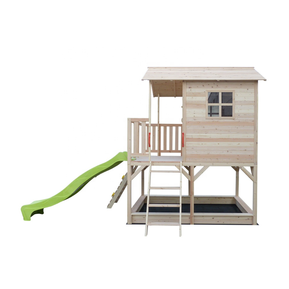 Kids children 2 tier two-storey wooden house for playing