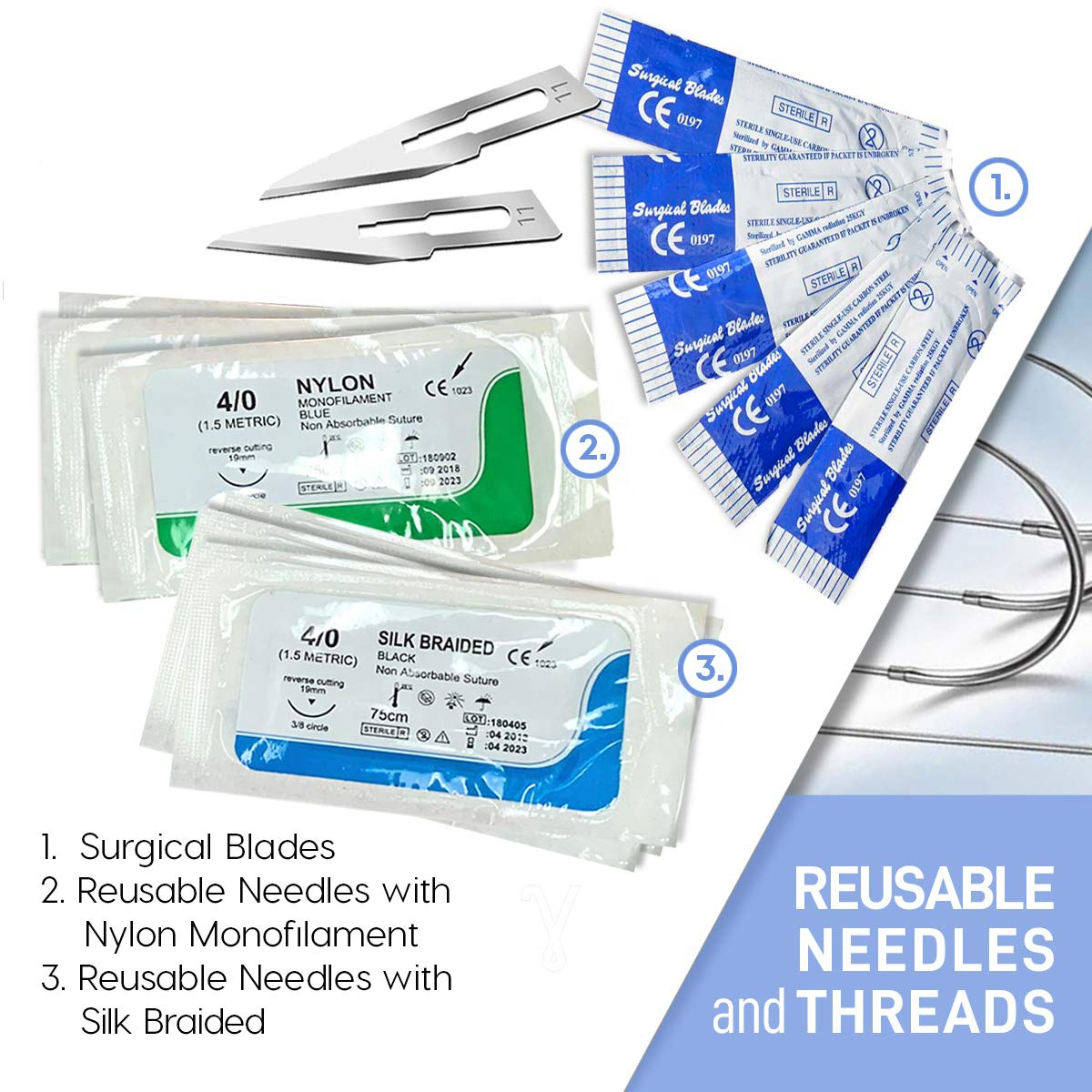 Suture Practice Kit for Medical Students Training | Durable Silicone Skin Suture Pad | Dissection Kit Stainless Steel