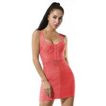 Новинка 2020, женское Бандажное платье, блестящее сексуальное розовое Клубное платье без рукавов с v-образным вырезом, вечерние платья знамен...(Китай)