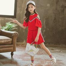Детская летняя одежда для девочек 2020, модная детская рубашка с открытыми плечами, топы + шорты, одежда для маленьких девочек, одежда для подр...(Китай)