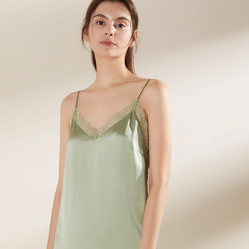 100% ночная рубашка из чистого шелка, пижама, летняя кружевная пикантная Женская одежда для сна, ночная рубашка для невесты