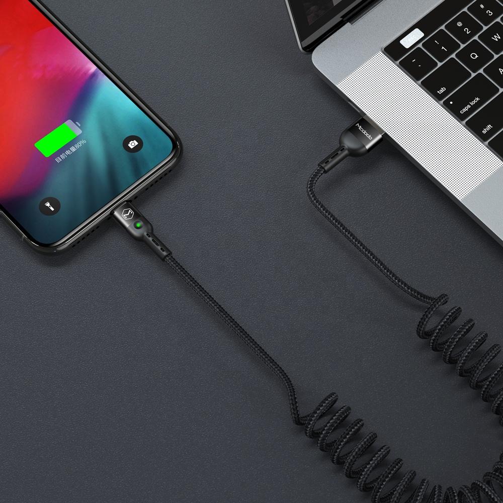 Mcdodo Заводские Оптовые продажи USB Type C гибкие спиральные кабели для зарядки и синхронизации данных для Samsung Not 10 Android