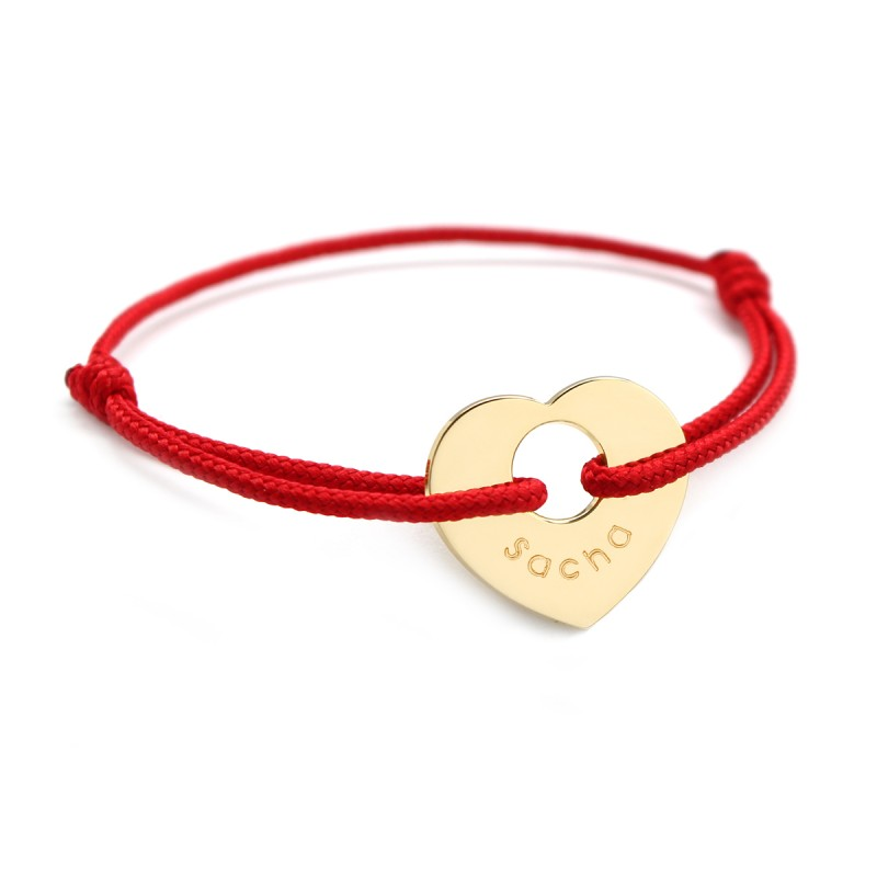 Stainless Steel Heart Charm Bracelet Engravable Woven Friendship Red String Thread Bracelet Adjustable Red Lucky Bracelet