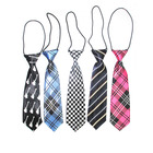 School Uniform Cstomers' Requrests Black Tie Cheap Price School Or Group Uniform Plaid Neck Ties Black With Boy Kids Wedding Elastic Tie