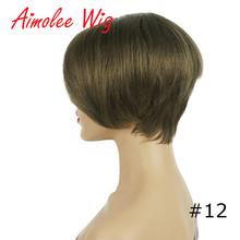6 дюймов короткие синтетические волосы парик смесь 70% человеческие волосы черный коричневый блонд рыжий цвет вечерние парики для женщин(Китай)