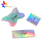 OEM garment accessaries custom private label logo print holographic paper clothing hang tag with string