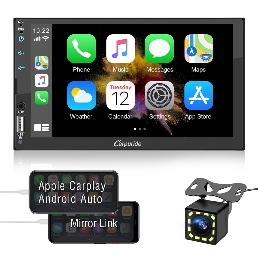Backup Camera USB/TF/AUX Port A/V in SWC FM/AM Radio Universal Carplay and Android Auto Car Audio Systems Car Stereo