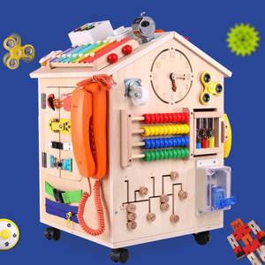 Развивающие деревянные игрушки Монтессори для детей, сделай сам, занятая доска, творческий деревянный дом, запирающийся ящик, игрушки для детей