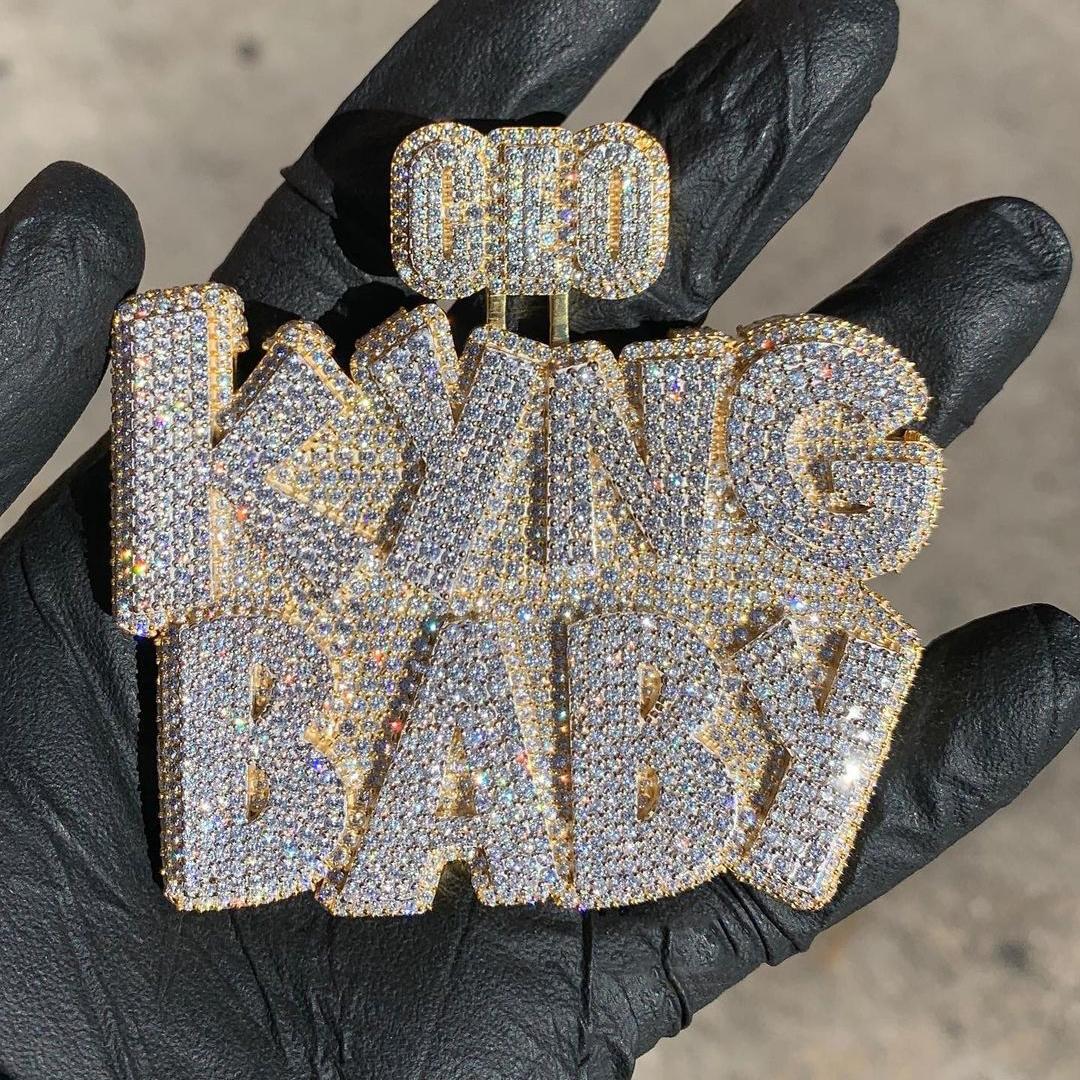 Custom name necklace gold diamond jewelry moissanite vvs diamond chain personalised letter pendant for women