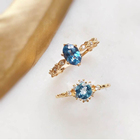 Peishang Brand 925 Sterling Silver Natural Stone Blue Topaz Ring Gold Plated Cz Cubic Zirconia Rings Jewelry Wholesale