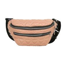 Модная клетчатая поясная сумка для женщин из искусственной кожи, поясная сумка с двойной молнией, нагрудная сумка через плечо, сумка для отд...(Китай)