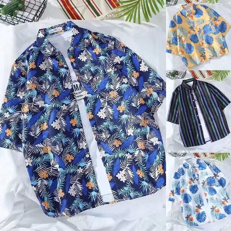 2021 из чистого хлопка гавайская рубашка с коротким рукавом с принтом для мужчин европейский размер пляжные торговли для Amazon мужская рубашка