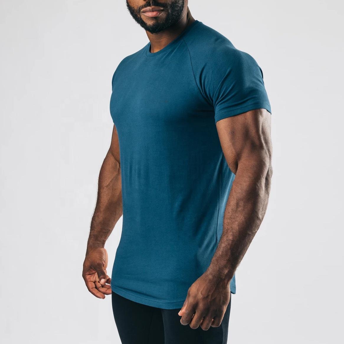 95% Cotton 5% Spandex Mens Performance T Shirt Sport Short Sleeve Raglan Tee custom gym t shirt