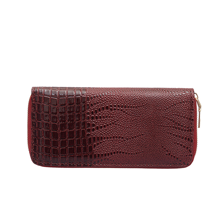 high quality designer handmade large luxury women wallet leather red