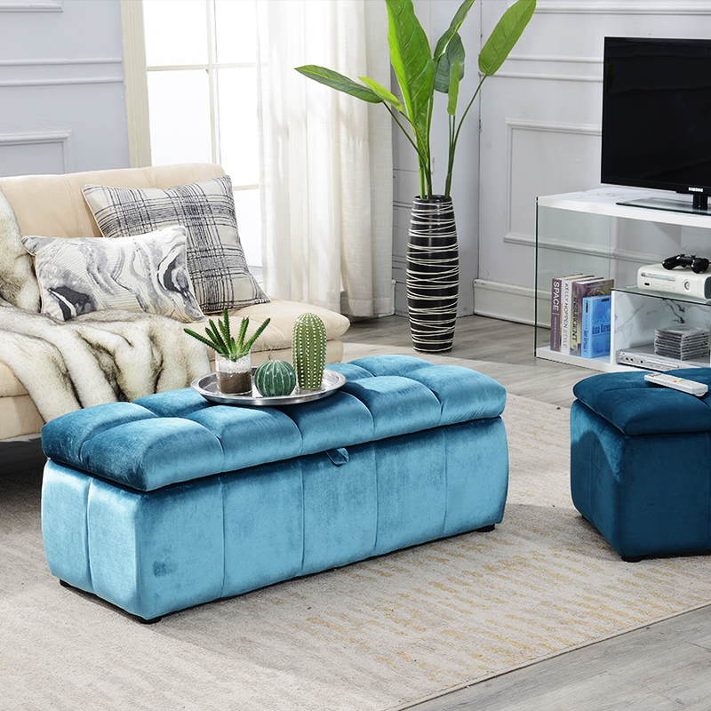 Reatai home beautiful long storage sofa bed bench for sitting bedroom velvet tufted bed end bench
