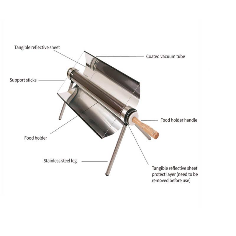 Новинка 2021, портативная китайская фабрика, лидер продаж, портативная солнечная плита с вакуумной трубкой, Солнечная духовка для барбекю