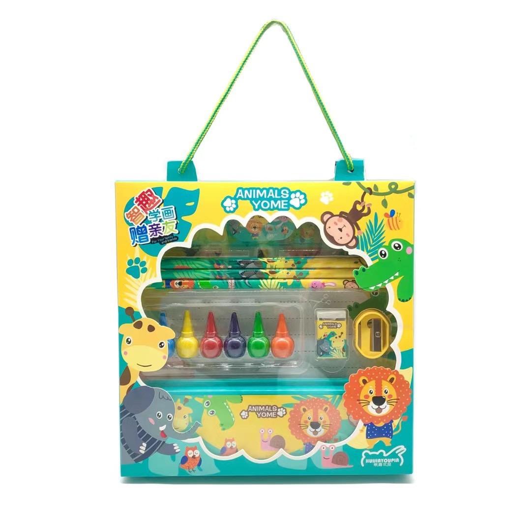 Детский мультяшный Канцелярский подарочный набор для рисования школьный карандаш/ластик/пенал/набор линейки для детей