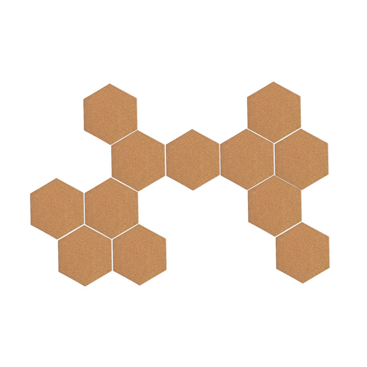 6x201x174mm Economical Hexagon Cork Board Tiles with Extra Strength Self Adhesive Backing for wall bulletin set of 12