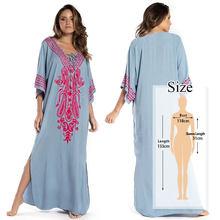 Голубое Платье макси с вышивкой и разрезом по бокам, летнее женское пляжное платье с длинным рукавом 2020, вечерние платья для бассейна, плать...(Китай)