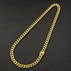 Wholesale Custom 18 20 22 24 26 28 30 Inches Star Cuban Necklace Miami Stainless Steel 24K Gold Plated Cuban Link Chain Necklace
