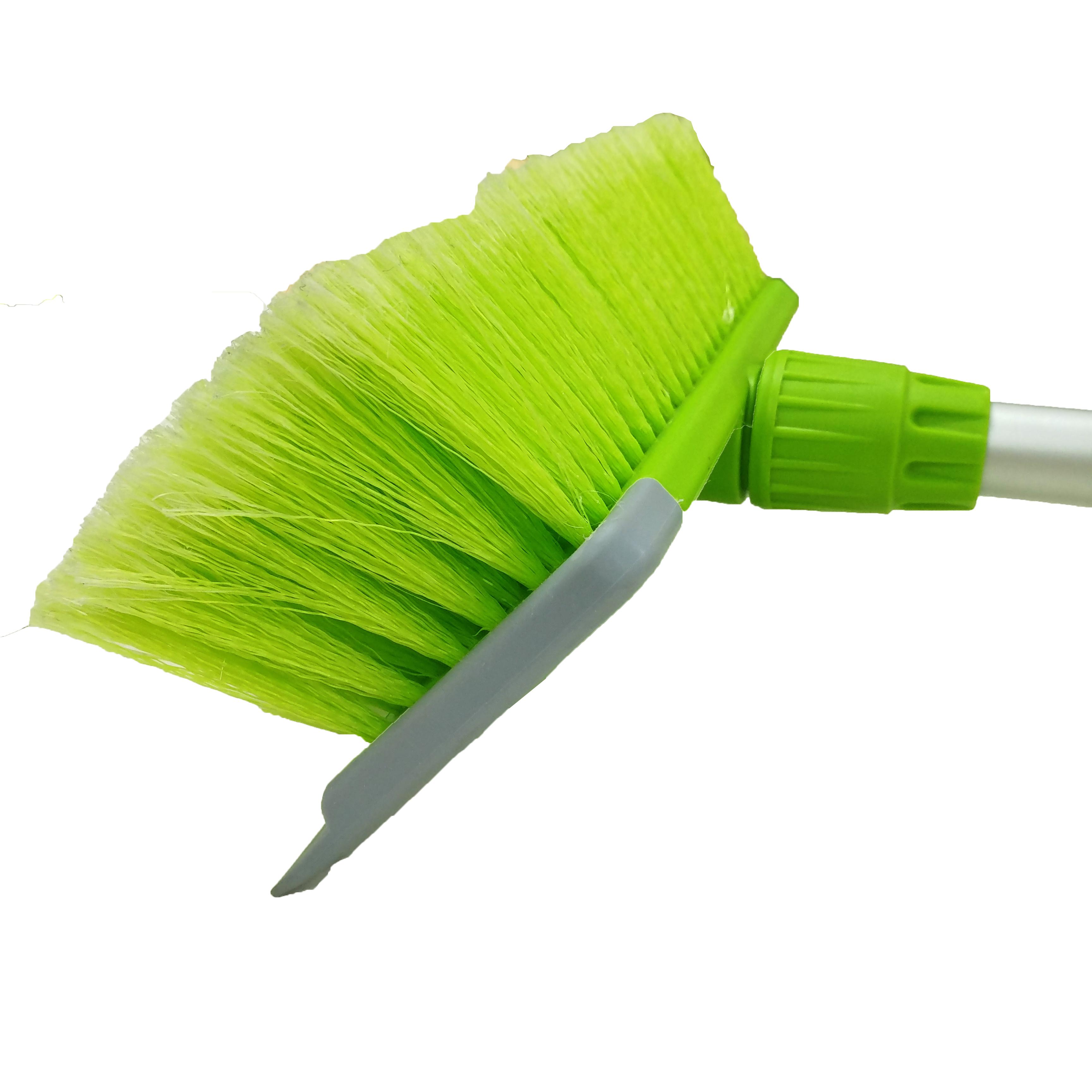 Телескопическая ручка, резиновый скребок, водный поток через щетку для мытья автомобиля, щетка с мягкой щетиной для чистки автомобильного распылителя @