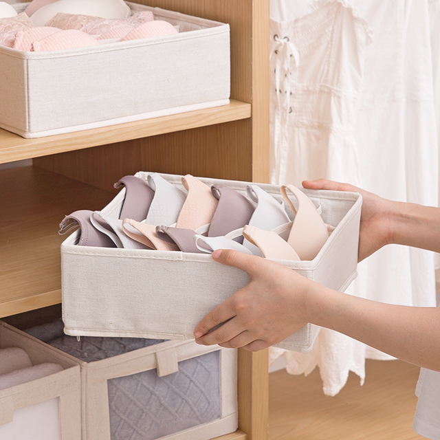 Foldable Storage Box Fabric Underwear Clothing Organizer