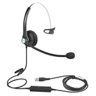 Telephone Telephone Professional Usb Plug Single Ear Wired Noise Cancelling Call Center Telephone Headset Headphone With Microphone For Computer PC