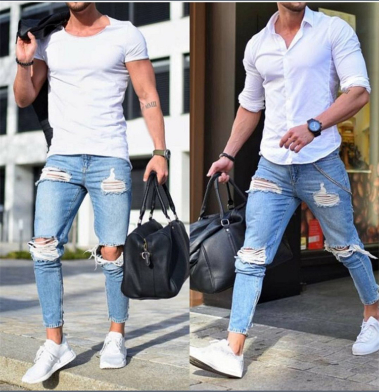 Slim Jeans For Men Distressed Stretch Jeans Blue Ripped Skinny Jeans Slim Fit Dropshipping New Design Buy Men S Jeans Slim Jeans For Men Distressed Stretch Jeans Blue Ripped Skinny Jeans Slim Fit Dropshipping