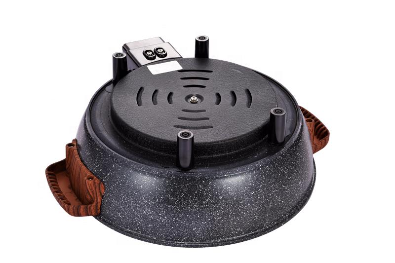 Электрический антипригарный горшок для приготовления пищи с круглой черной каменной деревянной ручкой, 32 см