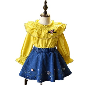 Selling Websites Korean Princess Shirt Style Cute Flower Denim Dress Set With Pearl For 7 Years Girls Design