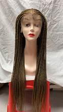 34 дюймов 13x7 плетеные парики для чернокожих Для женщин синтетический Синтетические волосы на кружеве парик заплетать косы Синтетические во...(Китай)
