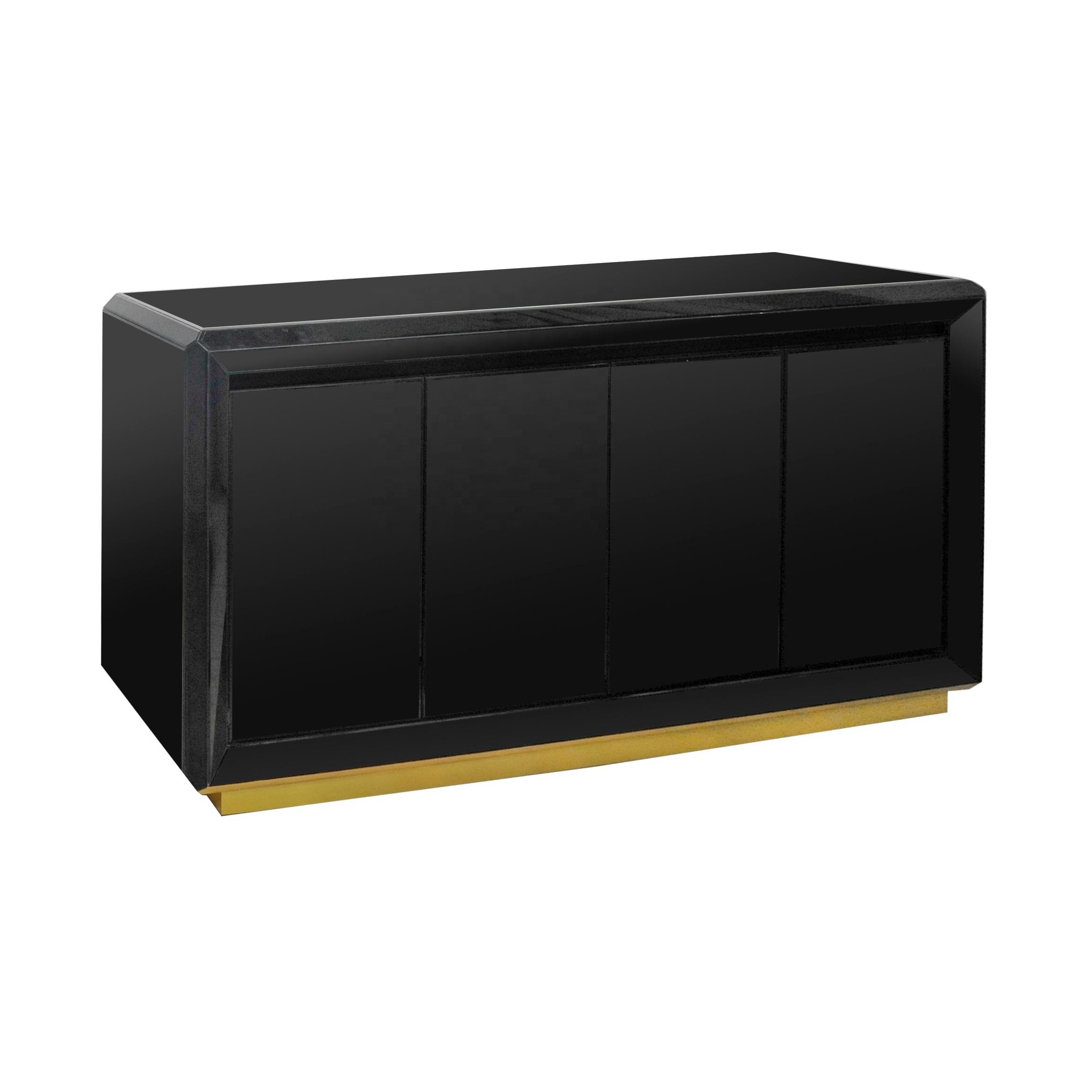 GuanYe деревянная Черная окрашенная масляная зеркальная консоль сервант шкаф 3 двери с магнитным сенсорным сервантом буфет