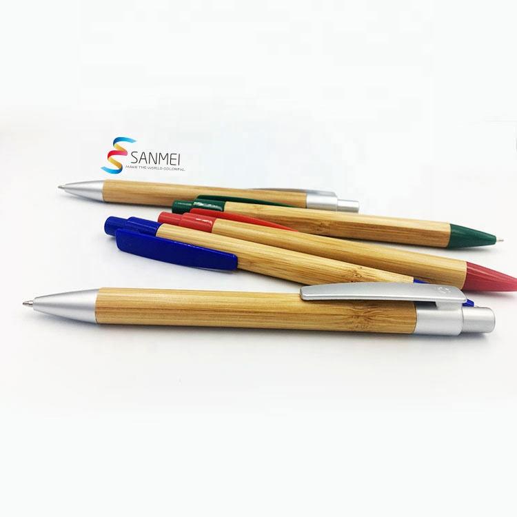 Дешевая экономичная рекламная Экологически чистая деревянная шариковая ручка с индивидуальным логотипом Из Бамбука шариковая ручка с логотипом