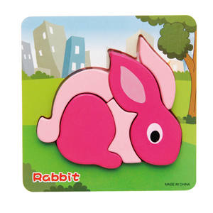 Early Educational Cartoon Animals Baby Learning Toy Funny Thicken Wooden 3D Puzzle Toy