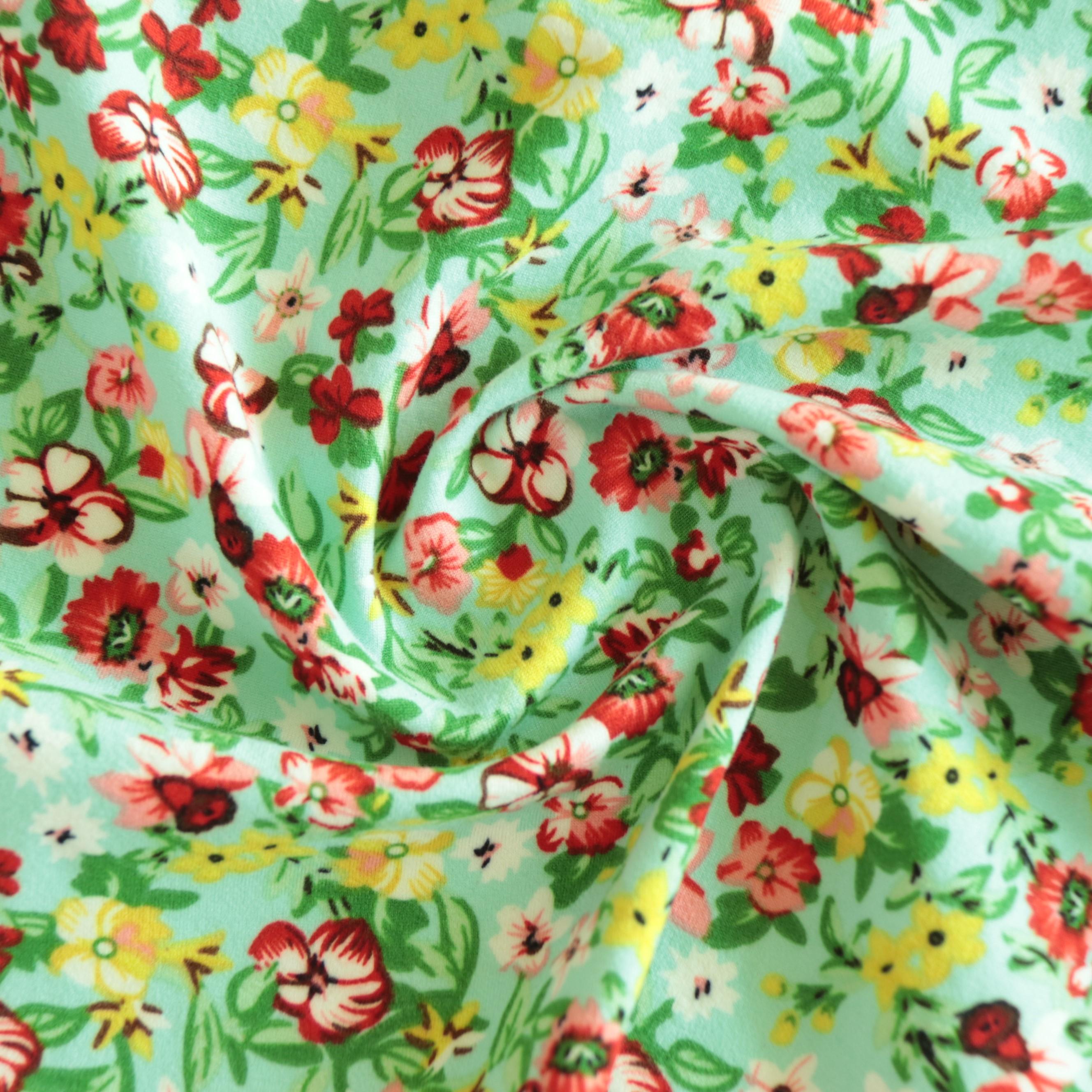 NO MOQ Customized 96% polyester 4% spandex Broken flower DTY 2 side jersey Brush digital print dye stretch fabric