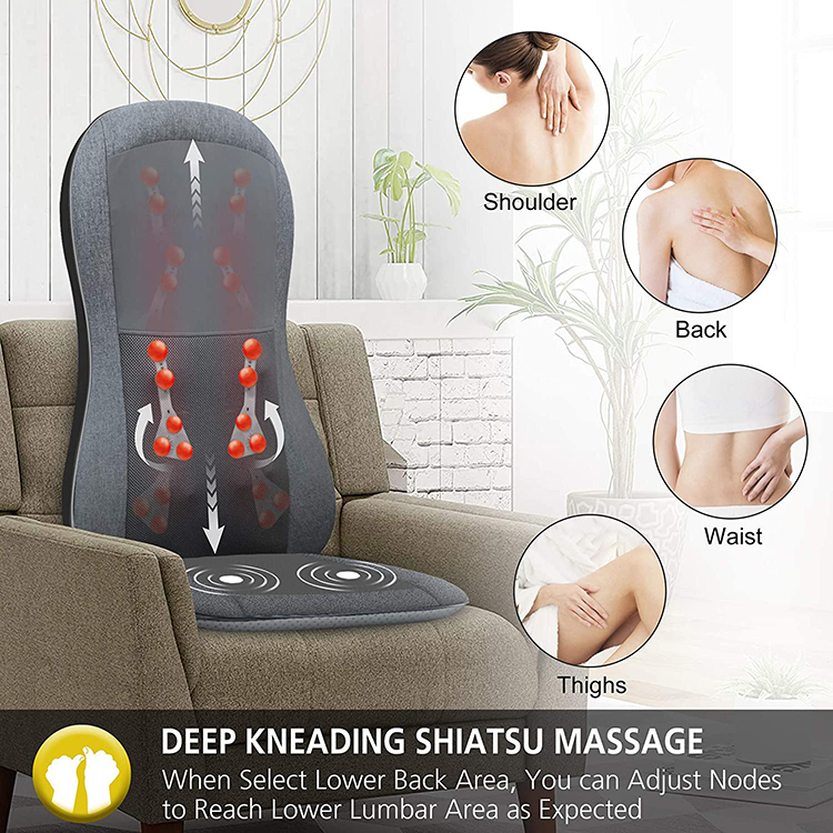 Deep Tissue Kneading Shiatsu Massage Bottom vibrating neck & back relax shiatsu massage cushion infrared heat