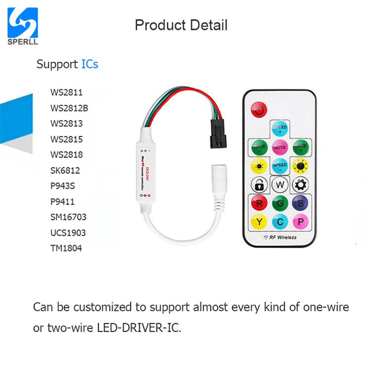 DC5V~24V SP104E LED Pixel Controller Led Light Dimmer Controller  RF Mini Wireless Remote Controller