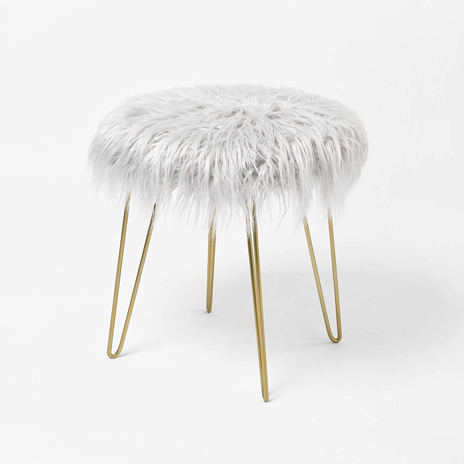 Fuzzy Fluzzy Fur Vanity Stool Seat Ottoman Foot Rest Round Cute For Bedroom With Gold Metal Legs Buy Dressing Table Chair Fluffy Makeup Product On Alibaba Com