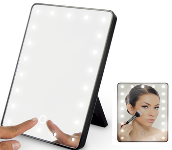 Fashion women batteries 16 led touch screen table makeup mirror