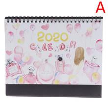 1 шт. ручной Рисование 2020 Fresh Cartoon, настольный бумажный календарь, двойной ежедневный планировщик стола, органайзер для годовой программы(Китай)